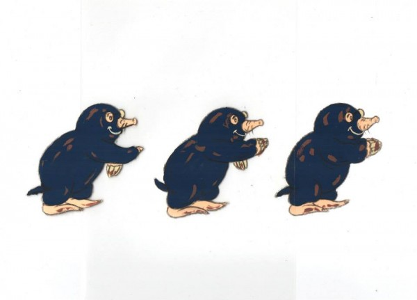 Three cels in animated sequence from 'The Mole Film'.